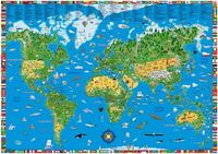 V�rldskarta f�r barn v�ggkarta i tub ()