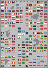 Flaggor i V�rlden - Flaggplansch i tub (h�ftad)
