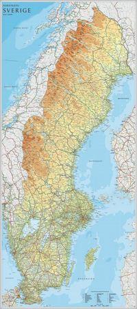 Sverige v�ggkarta Norstedts 1:900000 i tub - 1:900000 (h�ftad)