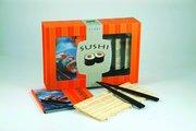 Sushi : startpaket med receptbok bambu rullmatta 4 ätpinnar