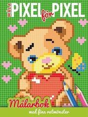 Måla pixel för pixel : målarbok med fina rutmönster (teddybjörn)