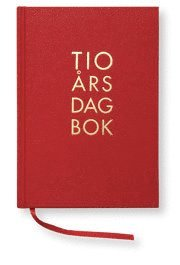 10-års dagbok A5 textil röd