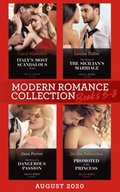 Modern Romance August 2020 Books 5-8: Italy's Most Scandalous Virgin / The Terms of the Sicilian's Marriage / The Price of a Dangerous Passion / Promoted to His Princess