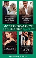 Modern Romance January 2021 B Books 1-4: The Greek's Convenient Cinderella / The Man She Should Have Married / Innocent's Desert Wedding Contract / Returning to Claim His Heir