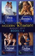 Modern Romance Collection: August 2017 Books 1 - 4: An Heir Made in the Marriage Bed / The Prince's Stolen Virgin / Protecting His Defiant Innocent / Pregnant at Acosta's Demand (Mills & Boon e-Book