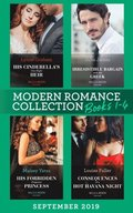 Modern Romance September Books 1-4: His Cinderella's One-Night Heir (One Night With Consequences) / Irresistible Bargain with the Greek / His Forbidden Pregnant Princess / Consequences of a Hot Hava