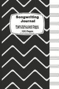Songwriting Journal: Black and White Chervon, Lined Ruled Paper and Staff, Manuscript Paper for Music Notes, Lyrics or Poetry. for Musician