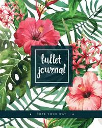 Bullet Journal Dot Grid for 90 Days, Numbered Pages Quarterly Journal Diary, Colorful Tropical Summer Plant Garden: Large Bullet Journal 8x10 with 150