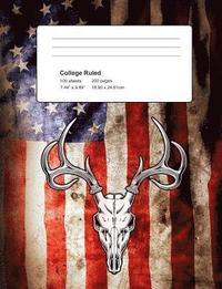 Deer USA Flag Composition Notebook Journal: College Ruled Lined 100 Sheets / 200 Pages