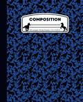 Composition: Horses Blue and Black Marble Composition Notebook for Girls or Boys. Horseback Rider Wide Ruled Book 7.5 x 9.25 in, 10