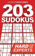 203 Sudokus: A DIFFICULT SUDOKU book with solutions