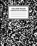 College Ruled Composition Notebook: Marble (Black), 7.5' x 9.25', Lined Ruled Notebook, 100 Pages, Professional Binding