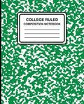 College Ruled Composition Notebook: Marble (Green), 7.5 X 9.25, Lined Ruled Notebook, 100 Pages, Professional Binding