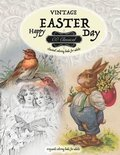 VINTAGE EASTER Classical coloring books for adults. Grayscale coloring books for adults
