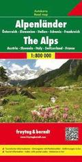 The Alps (A, Ch, F, I, Slo) Road Map 1:800 000